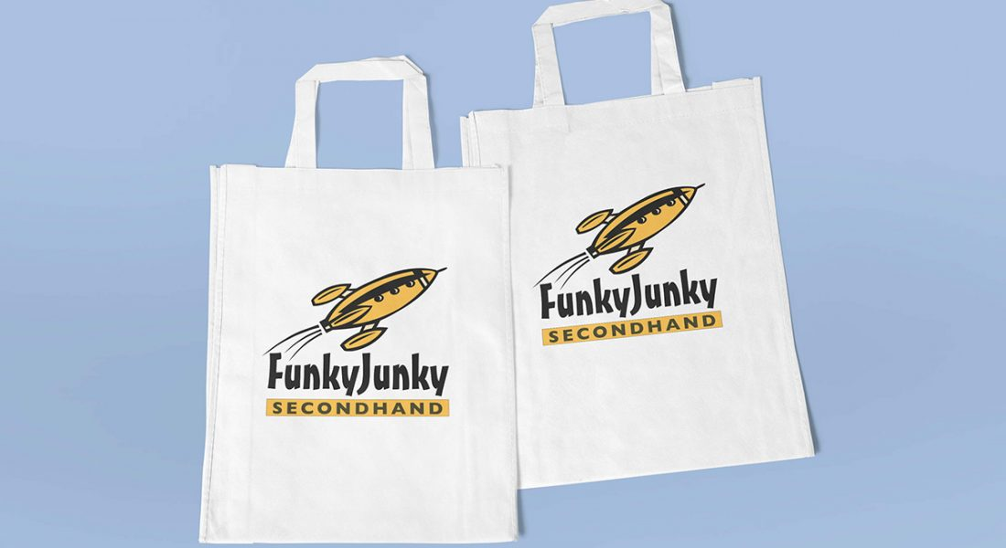Funky Junky second hand store tote bags